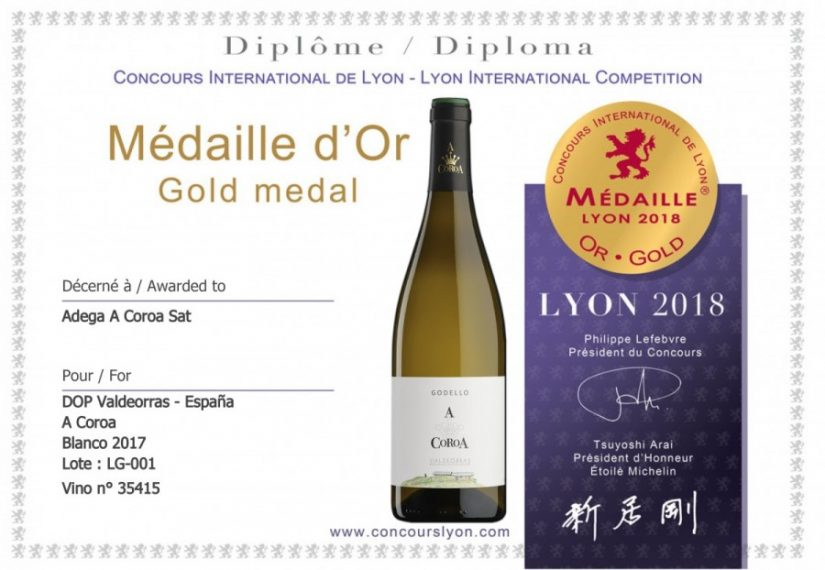 Gold Medal in Lyon for the new vintage 2017 of the young Godello A Coroa