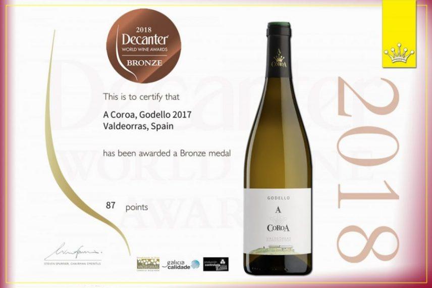 Decanter WWA awards Godello A Coroa 2017 with a bronze medal