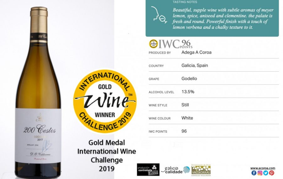 International Wine Challenge 2019 awards its Gold Medal to A Coroa 200 Cestos
