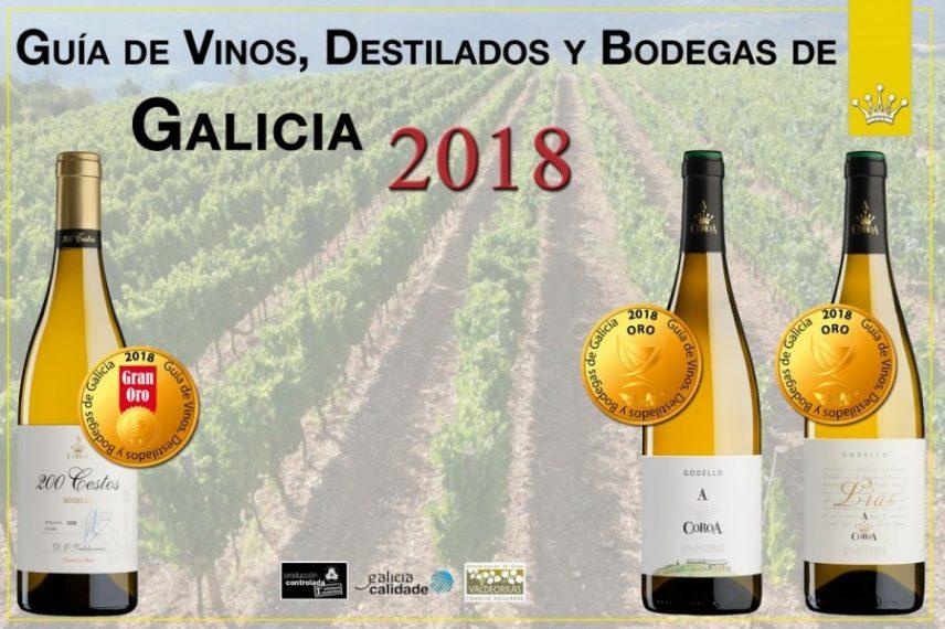 """Lluvia de Oros para los Godellos A Coroa en """"La Guía de Vinos, Destilados y Bodegas de Galicia 2018"""""""